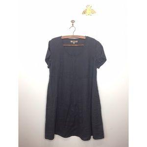 NWOT Flax blue linen empire waist dress pockets M
